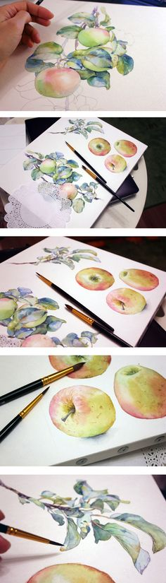 Watercolor image of a wreath made of branches with green leaves and red and green ripe and juicy apples.