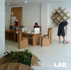 Cardboard shelf unit, diamond design