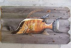 Hogfish Hand Painted on Reclaimed Wood Fence Boards (Custom Order Only) Father's…