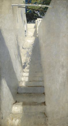 John Singer Sargent 1856 - 1925 STAIRCASE IN CAPRI (STUDY OF A STAIRCASE; STUDY OF A STAIRCASE, CAPRI) signed John S. Sargent, dated 1878, and inscribed Capri (lower right) oil on canvas 32 by 18 inches (81.5 by 45.5 cm)