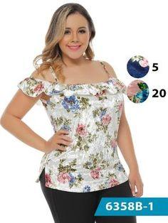 Blusa moda colombiana bambu - ref. Modelos Plus Size, Sport Outfits, Blouse Designs, Plus Size Fashion, Floral Tops, Chiffon, Lady, Womens Fashion, Casual