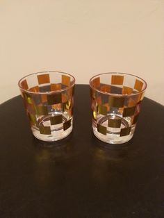 Item #6 - Gold Checker Glasses for Guest Table Decor (Hold Candles) from Home Goods