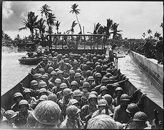 Americans landing on Carlos Island, Marshall Islands, circa early Feb 1944