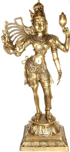 Ardhanarishvara form of Lord Shiva. Shiva is sometimes represented as half man, half woman. His figure is split half way down the body, one half showing his body and the second half that of Parvati's. Indian bronze statue.