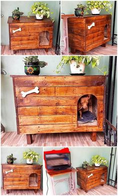 80 Super DIY Ideas For Wood Pallet Dog Houses: Here we are clearing this statements through the creation of wonderful and super DIY wooden pallet dog house. Wood Dog House, Pallet Dog House, Pallet Dog Beds, Wood Pallet Signs, Wooden Pallets, Wood Signs, Diy Dog Bed, Niches, Dog Rooms