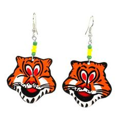 Recycled Tin Tiger Earrings Handmade and Fair Trade. This handmade novelty pair of earrings features a Tiger design made from recycled tin can and copper wire, accented with colorful Maasai beads. Earrings hang approximately 2 inches