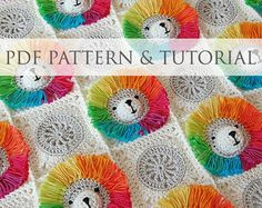 * This is a crochet pattern - not the finished item *  This super cute & colorful little lion baby blanket would be a wonderful present for your