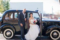 Modern Black, Pink and Gold Wedding Inspiration,  wedding getaway car, bride and groom, old car, retro car, black car