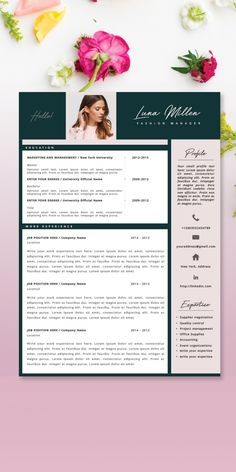 Beautiful, professional, easy to edit resume template by CVdesign.co on Etsy! Stand out from the crowd! <3 #resumetemplate #resume #cv