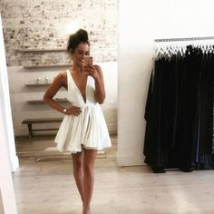 white homecoming dress,plunge dress,short prom dresses 2017, Cute dress,pretty prom dress,cocktail dresses