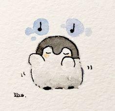 Mini Drawings, Cute Little Drawings, Cute Kawaii Drawings, Cute Animal Drawings, Easy Drawings, Pinguin Drawing, Arte Peculiar, Penguin Art, Cute Penguins