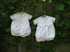 Custom Christening Rompers for twin boys made from Mother's wedding gown.