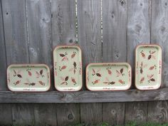 Set of 4 Vintage Metal Trays with a Fall by InspireDesignBySarah, $20.00