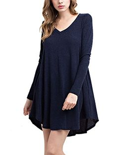 12 Ami Sweater Knit VNeck Flare Dress Navy M *** To view further for this item, visit the image link. Note: It's an affiliate link to Amazon.