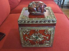 Ornate Asian Container, Asian Cat Container, Cat Decor, Vintage Gold and Red Ornate Container, Cat Container Decor, Asian Decor, Storage by BeautyMeetsTheEye on Etsy