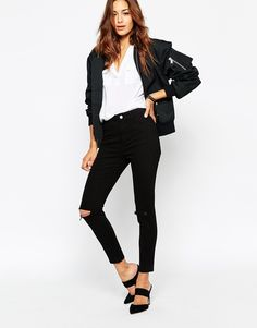 Image 1 of ASOS Ankle Grazer Skinny Twill Pants with Ripped Knees