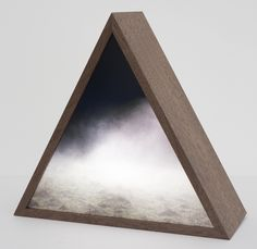 Title: Fog Field Prism Artist: Kirsten Kay Thoen #gallerynine5 #topography #KirstenKayThoen #sculpture #duratrans #walnut #plexiglass #LEDs