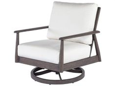 Augusta, a stunning, aluminum group that looks like real wood, but is without any of the maintenance. Sure to upgrade any patio, yard, or balcony, this collection features an elegant design that is outshined only by its unbeatable comfort. Augusta can easily be paired with our woven furniture. Patio Lounge Chairs, Patio Seating, Outdoor Chairs, Outdoor Furniture, Swivel Chair, Chair Cushions, Armchair, Chair Types, Real Wood