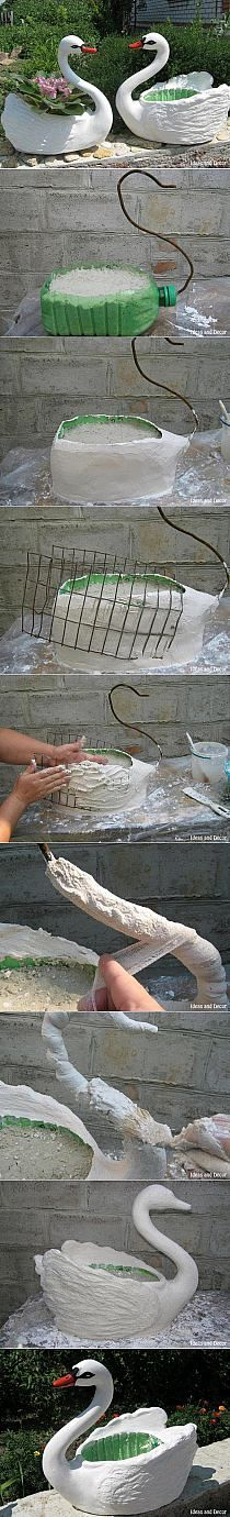 My DIY Projects: Turn Plastic Bottle to pot planter as Swan. Now to find diy for flamingo yard art. Garden Crafts, Garden Projects, Diy Crafts, Garden Ideas, Patio Ideas, Decor Crafts, Plastic Bottle Crafts, Recycle Plastic Bottles, Plastic Bottle Decoration