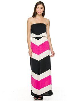 Strapless Multicolored Mix Print Maxi Dress