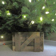barn door christmas tree bucket