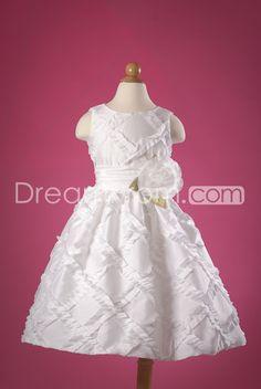 Pretty A-Line/Princess Tea-length Ruched Flower Girl Dress