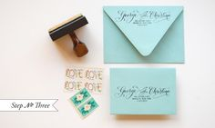 """""""Little Blue Box"""" Inspired Rubber Stamp Wedding Invitations"""