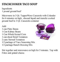 Tupperware Stackcooker Taco Soup by Susan Williford Tupperware Pressure Cooker Recipes, Tupperware Recipes, Microwave Recipes, Healthy Soup Recipes, Crockpot Recipes, Cooking Recipes, Healthy Food, Taco Soup Ingredients, Tupperware Consultant
