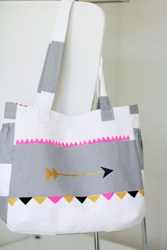 Arrow and Aztec design cotton tote. $60.00 | Spiral Girl >> Love this bag!