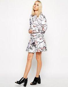 weekday photo print skirt  cream #print #skirt #covetme