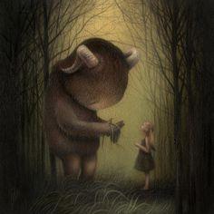 "Moonlight Meeting ~ artist Dan May; acrylic on wood panel, 8"" X 8""  www.danmay.net  #art"