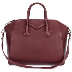 Womens Shoulder Bags Givenchy Antigona Medium Burgundy Leather Tote ($2,220) ❤ liked on Polyvore featuring bags, handbags, tote bags, purses, zippered tote, leather zip tote, leather purse, givenchy tote and zippered tote bag