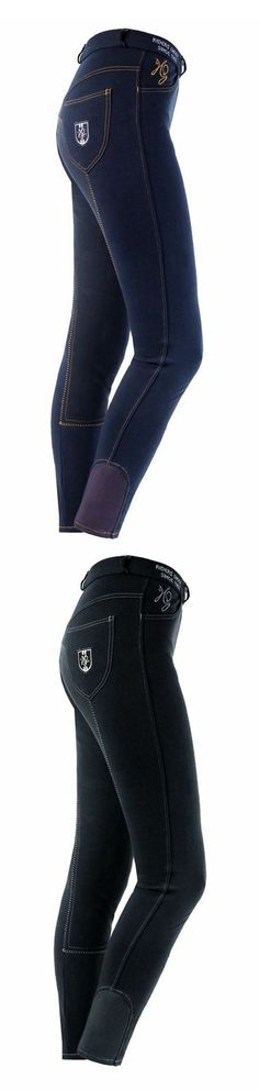 Horze Jennie Full Seat Breech - A normal waisted pant with two Gutos at the front, a full seat styling, and elastic leg bottoms. Two slanting side pockets and back pockets offer plenty of space to store sugar cubes and other small items. Features decorative stripes at the side pocket and embroidery and badge details.