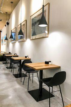 Un restaurante Deco Pizzeria, Deco Restaurant, Modern Restaurant, Restaurant Tables, Cafe Shop Design, Coffee Shop Interior Design, Small Restaurant Design, Restaurant Interior Design, Cafe Tables
