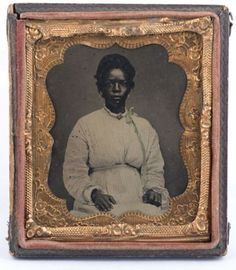 African-American-Black-Woman-Hand-tinted-1-6-Plate-tintype-Nice-Dress