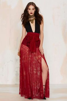Just in Lace Maxi Skirt - Burgundy - Clothes