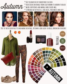 AUTUMN avoid pastels, stark white and reds with a blue cast to them. Steer clear of white or blue eyeshadows and pinky lipsticks as they will make you look sallow. If you want to wear blue, choose blues that have yellow in them, like teal. Beauty And Fashion, Look Fashion, Autumn Fashion, Deep Autumn Color Palette, Deep Winter Colors, Autumn Colours, Stil Inspiration, Dark Autumn, Soft Autumn Deep
