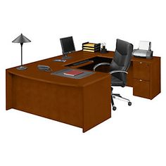 Fairbanks Bowfront U-Desk // Contemporary U-Shaped desks for any office space. #CherryDesk #CherryFinish