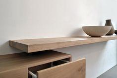 Maatwerk Badmeubel Lazio - Zwevende plank voor waskom met kastruimte