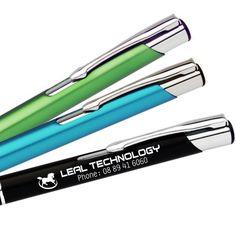 Buy engraved slimline metal pen with free setup and free laser engraving at Express Promo.