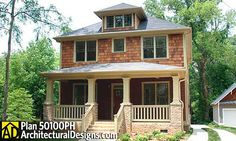Traditional Four Square House Plan - 50100PH | Country, Craftsman, Traditional, Narrow Lot, Photo Gallery, 2nd Floor Master Suite, CAD Available, Jack & Jill Bath, MBR Sitting Area, PDF | Architectural Designs