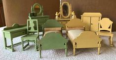 The yellow bedroom set consists of a twin bed with formed mattress with attached bolster pillow (made from a dowel), a dresser, a chifferobe, and a rocking chair. All 4 pieces are marked Germany. The drawers in the dresser open and close. | eBay!