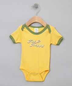 The chubbier, the cuter!  Yellow 'Fat & Happy' Organic Bodysuit - Infant by Urban Smalls on #zulily.  $11.99