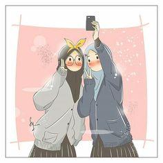 Best Friends Cartoon, Friend Cartoon, Girl Cartoon, Cartoon Art, Cute Muslim Couples, Cute Anime Couples, Character Illustration, Illustration Art, Islamic Wallpaper Hd