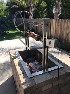 Stainless Santa Maria Countertop Drop In Frame with Height Adjustable Rotisserie by JD Fabrications - Grilling Wood Charcoal, Charcoal Grill, Santa Maria Grill, Built In Grill, Outdoor Kitchen Design, Outdoor Kitchen Plans, Outdoor Stove, Backyard Kitchen, Grill Design