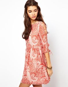 cute paisley skater dress - loving the lace up sleeve