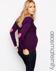 ASOS Maternity Sweater with Heart Elbow Patch