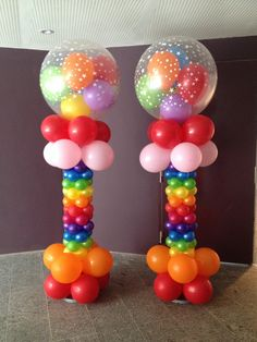 Rainbow Balloon Columns | THAT Balloons