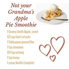 Not your Grandma's Apple Pie Smoothie made with Juice Plus Complete protein shak. Non Dairy Smoothie, Apple Pie Smoothie, Smoothie Recipes With Yogurt, Apple Smoothies, Yummy Smoothies, Smoothie Drinks, Grandmas Apple Pie, Juice Plus Shakes, Juice Plus+