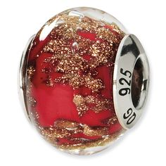 Sterling Silver Reflections Red/Gold Italian Murano Bead